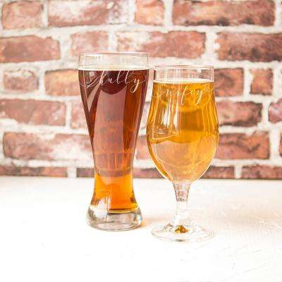 Hubby and Wifey Pilsner Glasses (Set of 2)