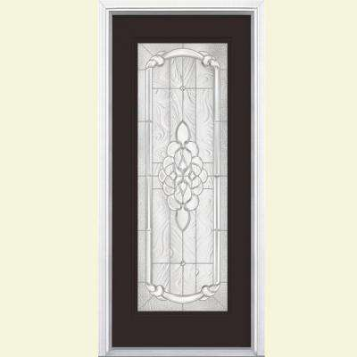 36 in. x 80 in. Oakville Full Lite Willow Wood Left Hand Painted Smooth Fiberglass Prehung Front Door w/ Brickmold