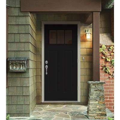 34 in. x 80 in. 3 Lite Craftsman Black w/ White Interior Steel Prehung Left-Hand Outswing Front Door w/Brickmould