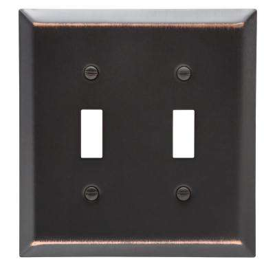 Metallic 2 Gang Toggle Steel Wall Plate - Aged Bronze