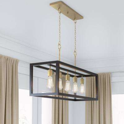 Boswell Quarter 5-Light Vintage Brass Island Chandelier with Painted Black Distressed Wood Accents