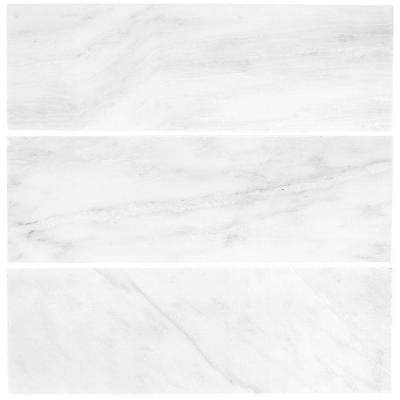 Carrara 4 in. x 12 in. Honed Marble Wall Tile (3-Pack)