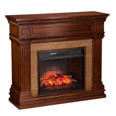 Kingston 45.5 in. W Stone Look Infrared Electric Fireplace in Oak Saddle