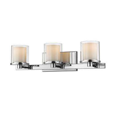 Mira 3-Light Chrome Bath Light with Clear and Matte Opal Glass Shade