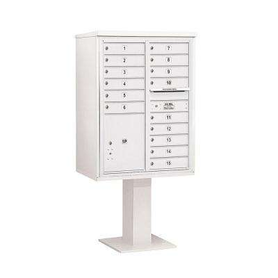 3400 Series 69-1/8 in. 11 Door High Unit White 4C Pedestal Mailbox with 15 MB1 Doors/1 PL5