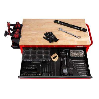 46 in. W 9-Drawer Gloss Red Deep Tool Chest Mobile Workbench with Hardwood Top