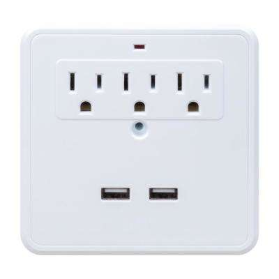 3-Outlet Charging Station Surge Protector Wall Tap