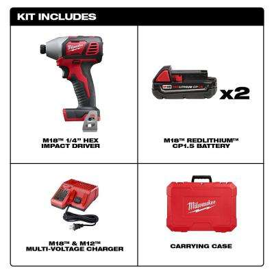 M18 18-Volt Lithium-Ion Cordless 1/4 in. Impact Driver Kit with(2) 1.5Ah Batteries, Charger, Hard Case