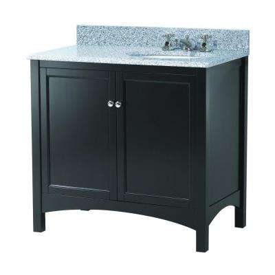 Haven 37 in. W x 22 in. D Vanity in Espresso with Granite Vanity Top in Napoli with Right Offset White Basin