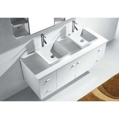 Clarissa 60 in. W Bath Vanity in White with Stone Vanity Top in White with Square Basin and Mirror and Faucet
