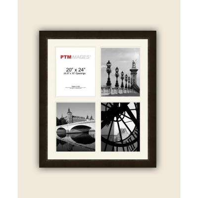 4-Opening 8 in. x 10 in. White Matted Espresso Photo Collage Frame