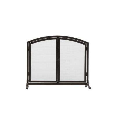 Emberly Black 1-Panel Fireplace Screen with Doors