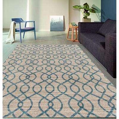 Modern Trellis High Quality Soft Blue 8 ft. x 10 ft. Area Rug