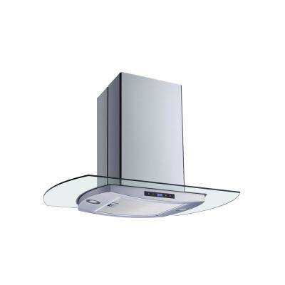 36 in. Convertible Kitchen Island Mount Range Hood in Stainless Steel and Glass with Mesh Filter and Touch Control