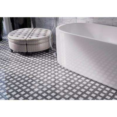 Bedford White 12.375 in. x 12.375 in. x 10 mm Basket Weave Marble Wall and Floor Mosaic Tile