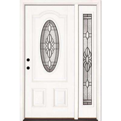 50.5 in.x81.625 in. Sapphire Patina 3/4 Oval Lite Unfinished Smooth Right-Hand Fiberglass Prehung Front Door w/ Sidelite
