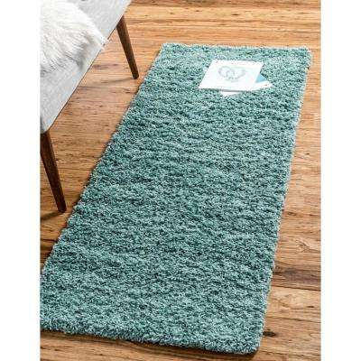 Solid Shag Slate Blue 2 ft. x 19 ft. Runner Rug