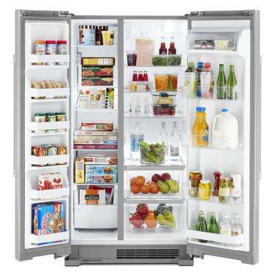 36 in. 25 cu. ft. Side by Side Refrigerator in Fingerprint Resistant Stainless Steel