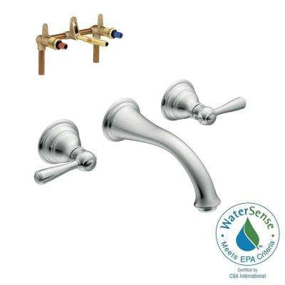 Kingsley Wall Mount 2-Handle Low-Arc Bathroom Faucet Trim Kit with Valve in Chrome