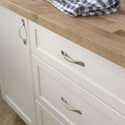Modern 3 in. (76 mm) Center-to-Center Satin Nickel Spoon Foot Drawer Pull