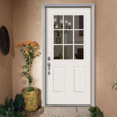 36 in. x 80 in. 9 Lite Primed Steel Prehung Right-Hand Inswing Back Door with Brickmould