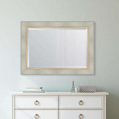 32 in. x 44 in. Framed White Catalina Mirror