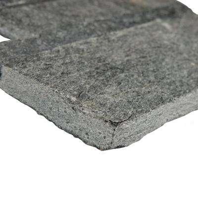 Ledger Panel Black Quartzite Corner 7 in. x 7 in. Natural Stone Wall Tile