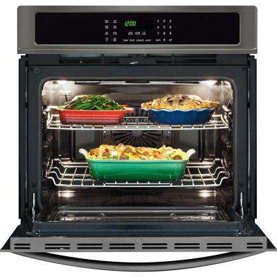 30 in. Single Electric Wall Oven Self-Cleaning with Convection in Black Stainless Steel