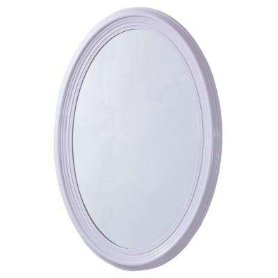 Pendleton 21 in. x 31 in. Oval Single Framed Wall Mount Mirror in White