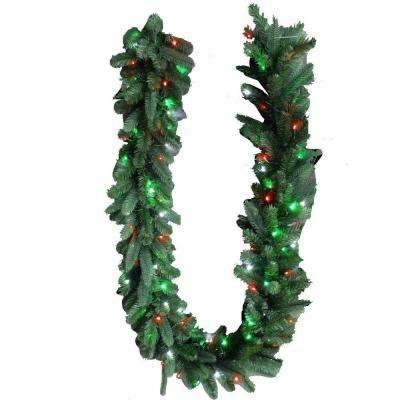 9 ft. LED Pre-Lit Branch Garland with Micro-Style Red, Green and Pure White Lights
