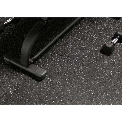 Black with Gray Speck 24 in. x 24 in. Finished Corner Recycled Rubber Floor Tile (16 sq. ft./ case)