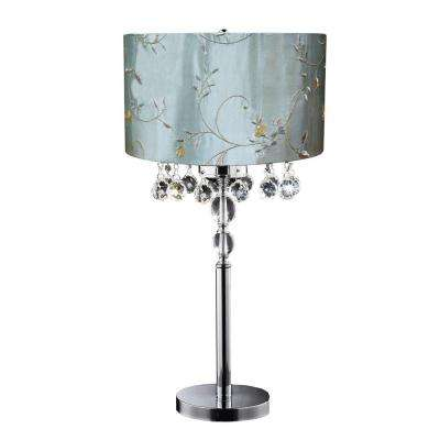 31 in. Silver Table Lamp with Embroidered Shade-DISCONTINUED