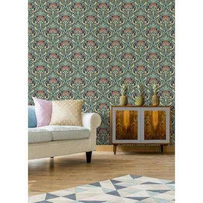 56.4 sq. ft. Donovan Moss Nouveau Floral Wallpaper