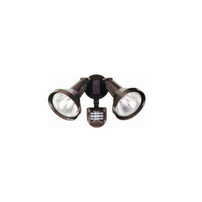 240-Watt 270° Bronze Diecast Metal Motion Activated Security Flood Light with Twin Head