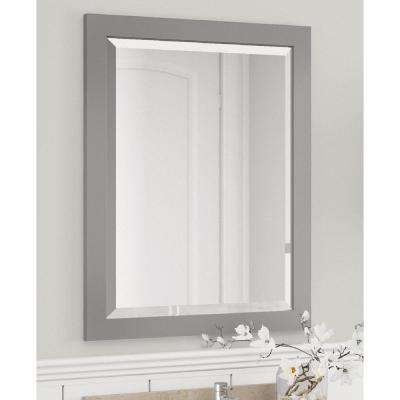 Harrison 25 in. W x 22 in. D Vanity in Gray with Marble Vanity Top in White with White Basin and Mirror