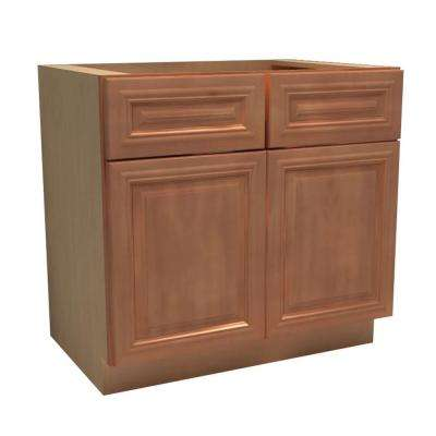 36x34.5x24 in. Dartmouth Assembled Base Cabinet with 2 Doors and 2 Drawers in Cinnamon