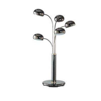 38 in. Chrome Table Lamp with Black Chrome