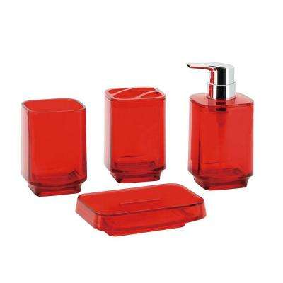 Bright Collection 4-Piece Bath Accessory Set in Red