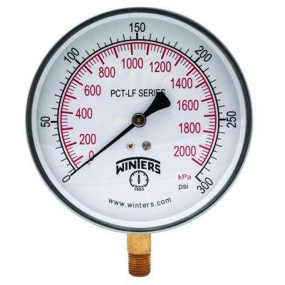 PCT-LF Series 4.5 in. Lead-Free Brass Stainless Steel Pressure Gauge with 1/4 in. NPT LM and 0-300 psi/kPa