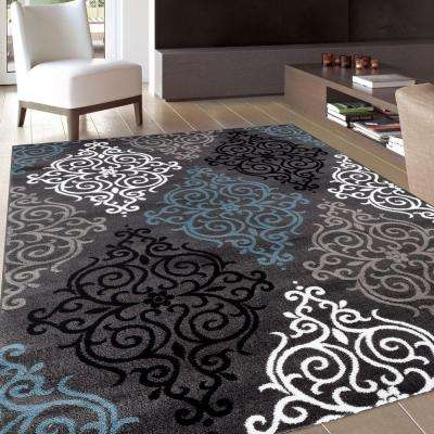 Modern Transitional Soft Damask Gray 5 ft. 3 in. x 7 ft. 3 in. Indoor Area Rug