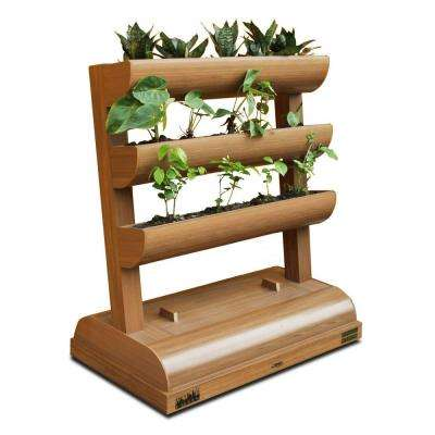 City Garden + Chem Wood + Vertical Planter 3 Planting Containers with Storage Box