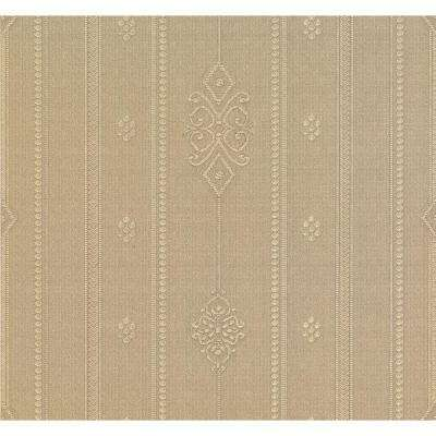 74.26 sq. ft. Pasquale Gold Embellished Stripe Wallpaper