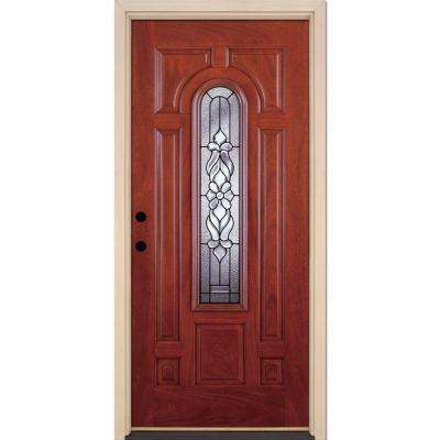 37.5 in. x 81.625 in. Lakewood Patina Center Arch Lite Stained Cherry Mahogany Right-Hand Fiberglass Prehung Front Door