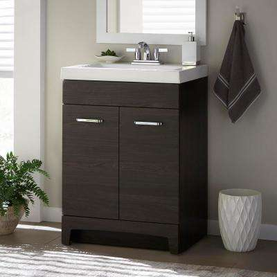 Stancliff 24 in. W x 19 in. D Bathroom Vanity in Elm Ember with Cultured Marble Vanity Top in White with White Sink