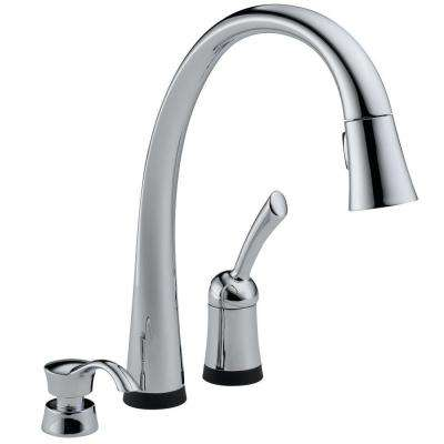 Pilar Single-Handle Pull-Down Sprayer Kitchen Faucet with Soap Dispenser in Chrome Featuring Touch2O Technology