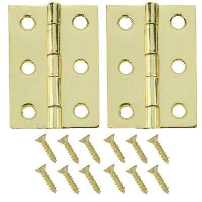 2 in. x 1-3/8 in. Bright Brass Broad Hinges