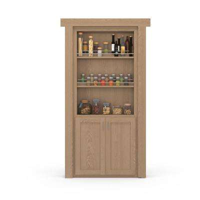 32 in. x 80 in. Flush Mount Assembled Forward Pantry Door Oak Unfinished Right-Hand Outswing