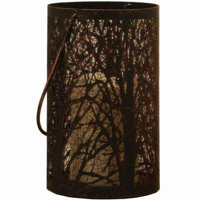 Arboretum 8 in. H Metal Cylinder Lantern with Tree Pattern in Antique Black Finish