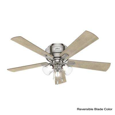 Crestfield 52 in. LED Indoor Low Profile Brushed Nickel Ceiling Fan with 3-Light Kit