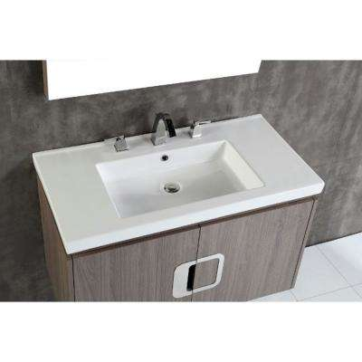 Torrey 36 in. W x 19 in. D x 22 in. H Single Vanity in Gray Brown Oak with Ceramic Vanity Top in White with White Basin